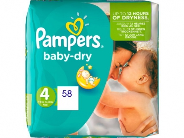 Pampers Baby Dry Maxi 58 Stück 7-18kg Gr 4